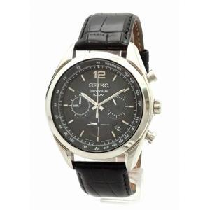 (ウォッチ)SEIKO セイコー クロノグラフ デイト ブラック文字盤 SS メンズ QZ クォーツ 腕時計 6T63-00J0(u)|blumin