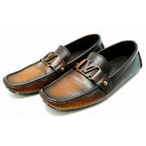(靴)LOUIS VUITTON ルイ ヴィトン メンズ ドライビングシューズ ローファー スリッポン レザー 茶 ダークブラウン ロゴ金具 サイズ#9(k) blumin