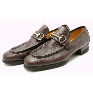(靴)GUCCI グッチ グッチシマ ローファー ドライビングシューズ スリッポン 紳士靴 レザー 茶 ブラウン 43 1/2(日本サイズ約28.5cm) 147825(k)|blumin