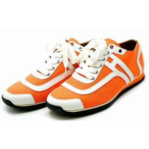 (靴)HERMES エルメス スニーカー シューズ オレンジ ホワイト #36 日本サイズ23(k)|blumin