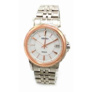 (ウォッチ)SEIKO セイコー ドルチェ デイト ホワイト文字盤 SS GP ピンクゴールドメッキ メンズ ソーラー充電 電波時計 腕時計 7B24-0AL0(k)|blumin