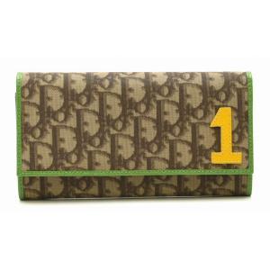 (財布)Christian Dior クリスチャン ディオール トロッター 2つ折長財布 ナンバーデザイン PVC レザー カーキブラウン グリーン レッド(k) blumin