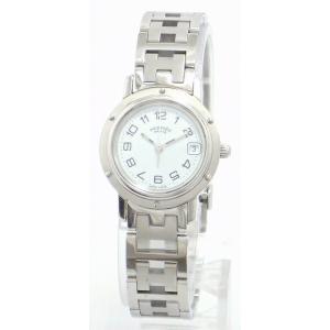 (ウォッチ)HERMES エルメス クリッパー デイト ホワイト文字盤 SS シルバー レディース QZ クォーツ 腕時計 CL4.210 (u) blumin