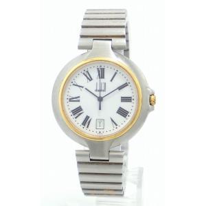 (ウォッチ)dunhill ダンヒル ミレニアム デイト ホワイト文字盤 36mm ローマンインデックス SS GP ゴールドメッキ メンズ QZ クォーツ 腕時計 (k)|blumin