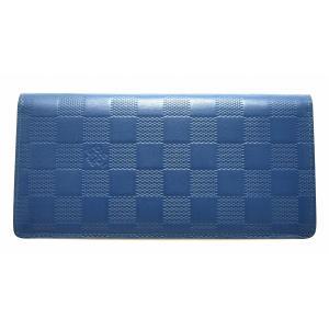 (財布)LOUIS VUITTON ルイ ヴィトン ダミエ アンフィニ ポルトフォイユ ブラザ 2つ折長財布 ネプテューヌ ブルー 青 N63205(u)|blumin