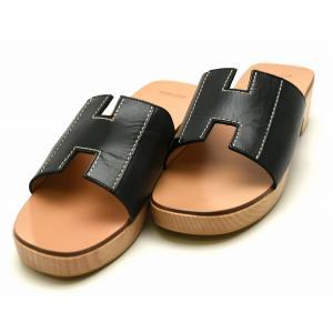(靴)HERMES エルメス コンスタンス H サンダル ウッド レザー 黒 ブラック #37 日本サイズ24(k)|blumin