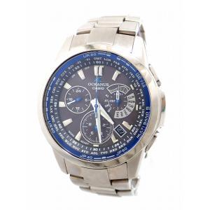 (ウォッチ)CASIO カシオ OCEANUS オシアナス デイト ソーラー 電波時計 クロノグラフ ブルー グレー文字盤 チタン メンズ 腕時計 OCW-M700(u) blumin