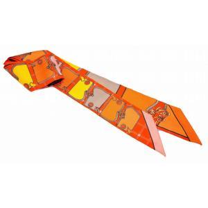 (アパレル)HERMES エルメス トゥイリー ツイリー カマイユ Camails スカーフ バッグアクセサリー シルク100% オレンジ系マルチカラー(k)|blumin