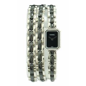 (ウォッチ)CHANEL シャネル プルミエール トリプルブレス ダイヤモンドベゼル ブラック文字盤 セラミック レディース QZ クォーツ 腕時計 H3058(k)|blumin
