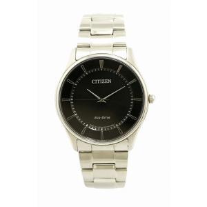 (ウォッチ)CITIZEN シチズン SS ブラック文字盤 エコドライブ メンズ 腕時計 E031-S103720(u) blumin