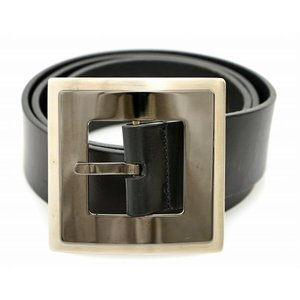 DOLCE&GABBANA ドルチェ&ガッバーナ D&G ドルガバ レザー ベルト 黒 ブラック シルバーカラー メンズ 85cm 34(k)|blumin