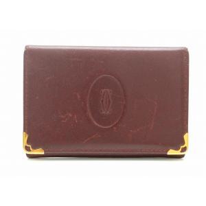 dbb9a5dff0bf Cartier カルティエ マスト ドゥ カルティエ ビジネス カードホルダー カードケース 名刺入れ パスケース ボルドー L3000455 (u)