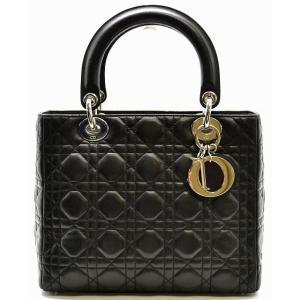 (バッグ)Christian Dior クリスチャンディオール カナージュ レディディオール ハンドバッグ 黒 ブラック シルバー金具(k) blumin