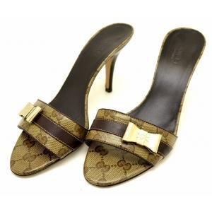 (靴)GUCCI グッチ GG柄 ミュール サンダル リボンモチーフ サイズ37 1/2C 24.5cm PVC レザー ウッド ゴールド金具 カーキブラウン ダークブラウン (k)|blumin