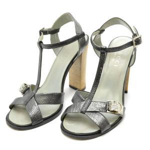 (靴)GUCCI グッチ ラインストーン パンプス ピンヒール 型押しレザー クロコ調 グレー サイズ351/2(k)|blumin