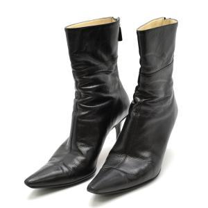 (靴)GUCCI グッチ ショートブーツ ブーツ ジップブーツ ピンヒール レザー 黒 ブラック 115159 サイズ351/2(k)|blumin