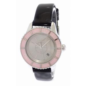 (ウォッチ)Christian Dior クリスチャン ディオール クリスタル シルバーグレー文字盤 デイト SS 革ベルト レディース クォーツ 腕時計 CD113114(u) blumin