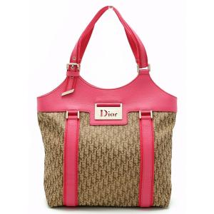(バッグ)Christian Dior クリスチャン ディオール トロッター ハンドバッグ キャンバス レザー カーキベージュ ピンク(u) blumin