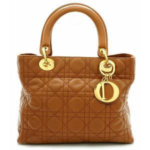 (バッグ)Christian Dior クリスチャン ディオール レディディオール カナージュ ハンドバッグ レザー 茶 ブラウン ゴールド(k) blumin