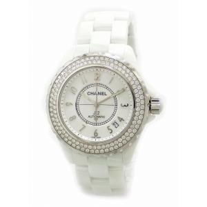 (ウォッチ)CHANEL シャネル J12 デイト 2重 ダイヤベゼル ホワイト セラミック 白 メンズ AT オートマ 腕時計 H0969(u)|blumin
