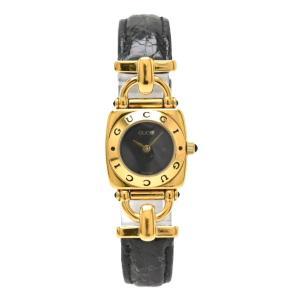 3ce87ac74d84 GUCCI グッチ ブラック文字盤 GP ゴールドメッキ 革ベルト レディース QZ クォーツ 腕時計 6300L (中古) (u)