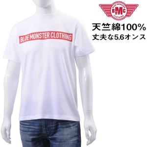 セール Tシャツ メンズ 半袖 高品質ヘビーオンス天竺綿  BLUE MONSTER CLOTHING ボックスロゴ ホワイト メール便対応 BMC bmc-tokyo
