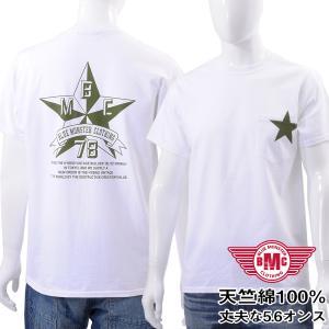 セール Tシャツ メンズ 半袖 ポケット付き 天竺綿 オリジナルプリント スター/ミリタリー 白 メール便対応 BMC bmc-tokyo