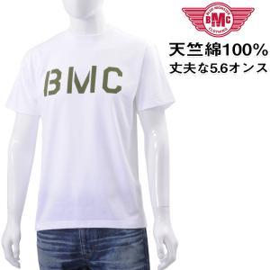 セール Tシャツ メンズ 半袖 ヘビーオンス天竺綿 ステンシル風ロゴプリント ホワイト メール便対応 BMC bmc-tokyo