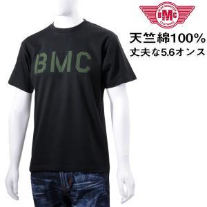 セール Tシャツ メンズ 半袖 ヘビーオンス天竺綿  ステンシル風ロゴプリント ブラック メール便対応 BMC bmc-tokyo