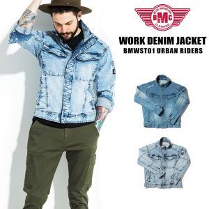 セール デニムジャケット メンズ アーバンジャケット ワークジャケット ライダースジャケット 淡色 ライトブルー ユーズド加工 淡色 BMC|bmc-tokyo