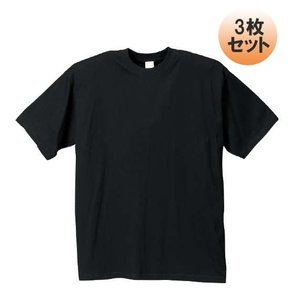 大きいサイズ メンズ クルーTシャツ3枚パック ブラック 1...