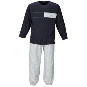 大きいサイズ メンズ a.v.v HOMME ダンボール胸切替長袖Tシャツセット ネイビー×モクグレー 1159-7302-2 3L 4L 5L 6L 8L bmo