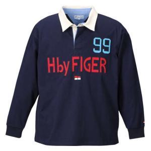 大きいサイズ メンズ H by FIGER 長袖ラガーシャツ ネイビー 1168-7301-1 3L 4L 5L 6L 8L|bmo