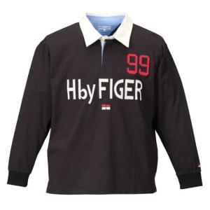 大きいサイズ メンズ H by FIGER 長袖ラガーシャツ ブラック 1168-7301-2 3L 4L 5L 6L 8L|bmo