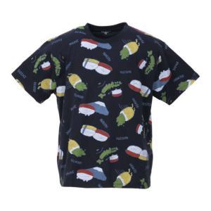 大きいサイズ メンズ おしゅしだよ JAPAN総柄 半袖 Tシャツ ネイビー 1178-9249-2...