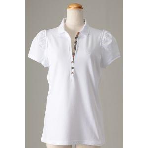 大きいサイズ L ヨーロッパ直輸入 BURBERRY バーバリー レディース半袖ポロシャツ ホワイト トールサイズ 3720683-900|bmo