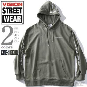 大きいサイズ メンズ VISION STREET WEAR ロゴ プリント プルオーバー パーカー ...