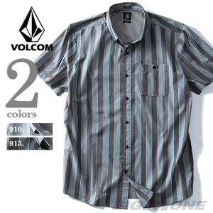 大きいサイズ メンズ VOLCOM ボルコム ストライプ半袖ボタンダウンシャツ Carson S/S USA直輸入 a0421607|bmo