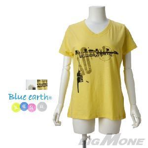 大きいサイズ レディース 3L 4L 5L 6L Blue earth スラブプリントVネック半袖Tシャツ azld-14i77|bmo