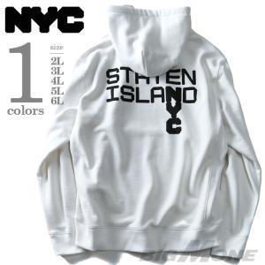 大きいサイズ メンズ NYC ヘヴィウェイトプリントプルパーカー STATEN ISLAND 秋冬新作 azsw-170481|bmo