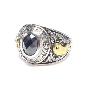 大きいサイズ メンズ シルバーリング 龍 カレッジ風指輪 アクセサリー SILVER 925 Men's Ring 23号前後 hgring-05|bmo
