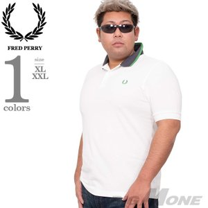 大きいサイズ メンズ FRED PERRY フレッドペリー ロゴ刺繍 鹿の子 半袖 ポロシャツ US...