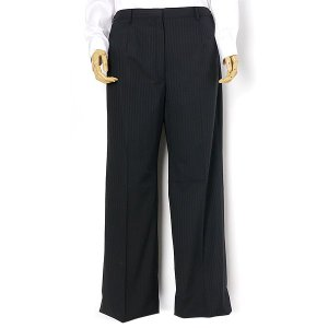 大きいサイズ レディース 23 25 27 29 31 ウォッシャブル黒シャドー2釦スーツ パンツ  r121044b-2-990|bmo