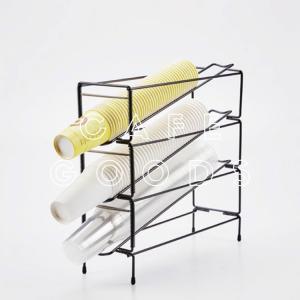 紙コップ クリアカップ ディスペンサー3段 スタンド型ブラック(6mm) 3口用 Cuffy-I490|bmt-store