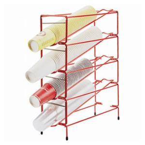 紙コップ テイクアウト おしゃれ クリアカップ カフェグッズ ディスペンサー 3段 スタンド型 赤 レッド (6mm) 4口用 Cuffy-I630|bmt-store