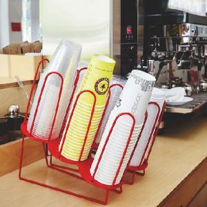 紙コップ テイクアウト おしゃれ クリアカップ カフェグッズ ディスペンサー アイアンカップ&リード3段ディスペンサー 赤 レッド 3口用 Cuffy-I640|bmt-store