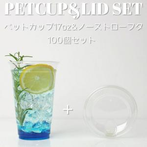 クリアカップ ペットカップ 蓋付き 17オンス&ノーストローフタ ☆100個セット☆EC80|bmt-store