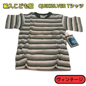 輸入こども服 新品デットストック ボーダーTシャツ QUIKSILVER M(5/6)グリーン|bmx-source