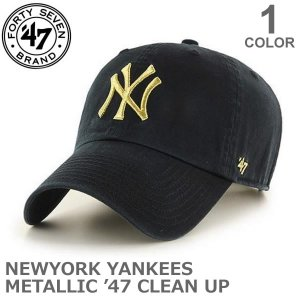 47BRAND/47ブランド B-MTCLU17GWS CLEAN UP CAP カジュアル メンズ レディース ニューヨークヤンキース ブラック/ゴールド 帽子【ネコポスのみ送料無料】|bobsstore