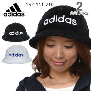アディダス adidas 157-111-710 バケットハット  もこもこ メンズ レディース  帽子  ロゴ ブラック ホワイト  スポーツ フェ|bobsstore